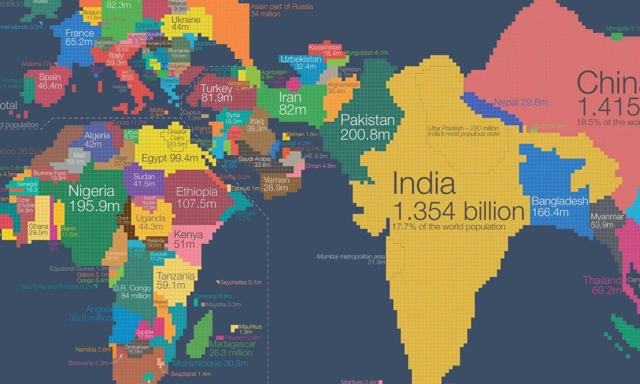 O νέος χάρτης της Γης παρουσιάζει τις χώρες με βάση τον πληθυσμό τους